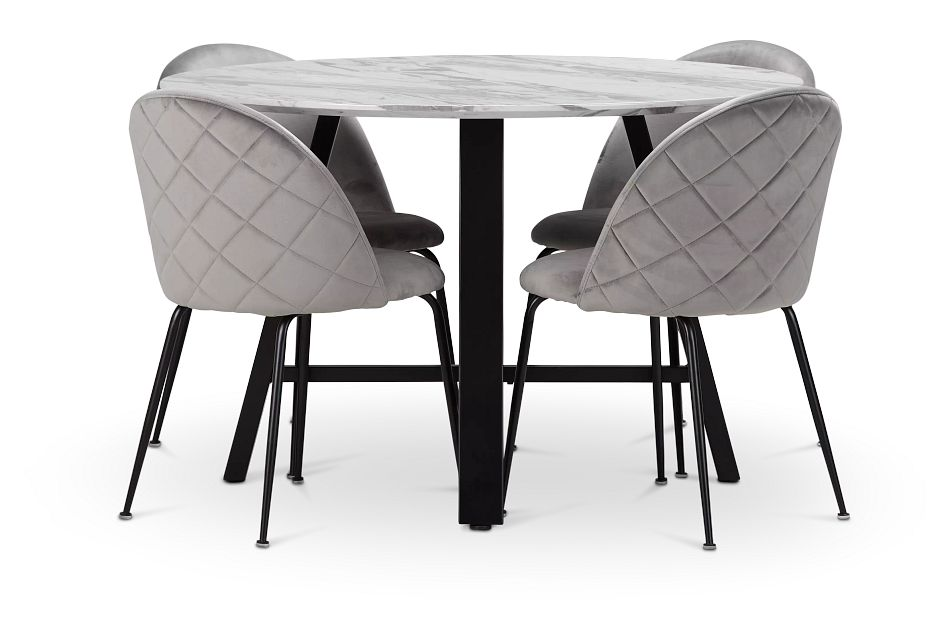 Capri Black Gray Round Table & 4 Upholstered Chairs