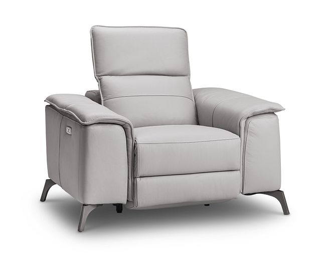 Pearson Gray Leather Power Recliner With Power Headrest (0)