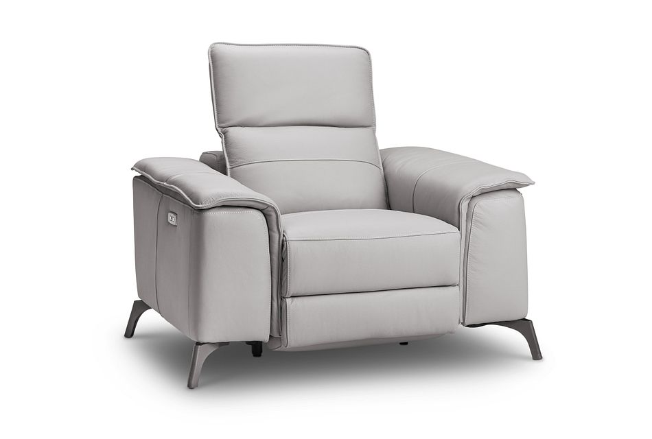 Pearson Gray Leather Power Recliner With Power Headrest