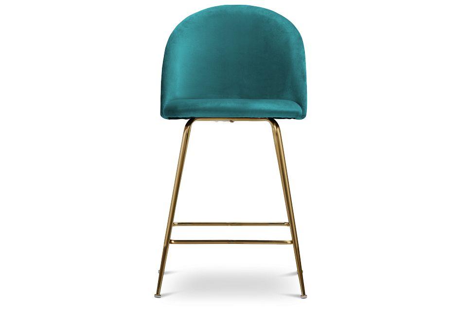"""Capri Dark Teal Upholstered 24"""" Barstools W/gold Legs"""