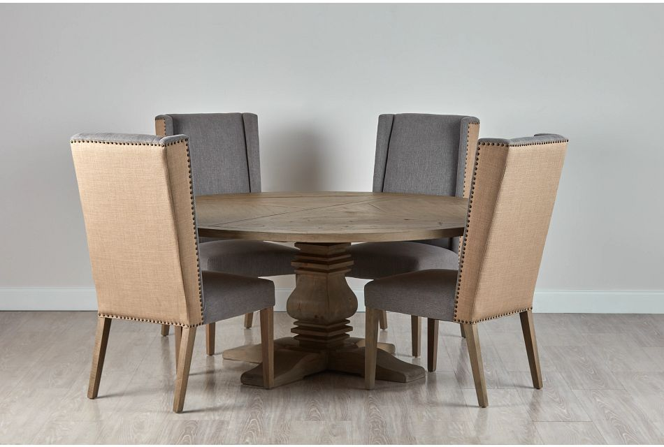 """Hadlow Gray 72"""" Table & 4 Upholstered Chairs"""