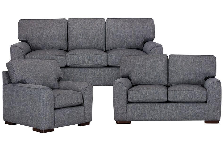 Austin Blue Fabric Living Room