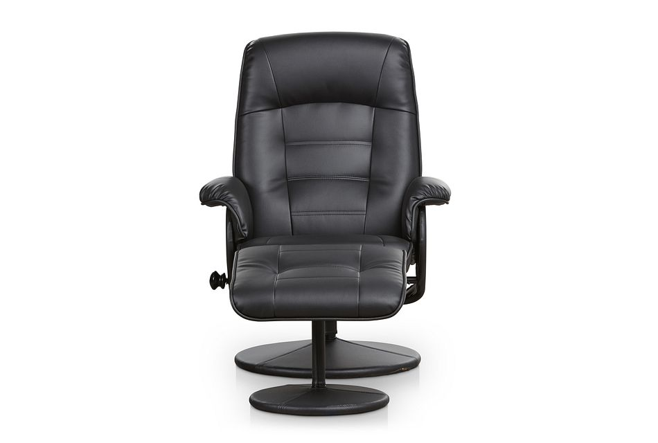 Brooks Black Micro Recliner & Ottoman