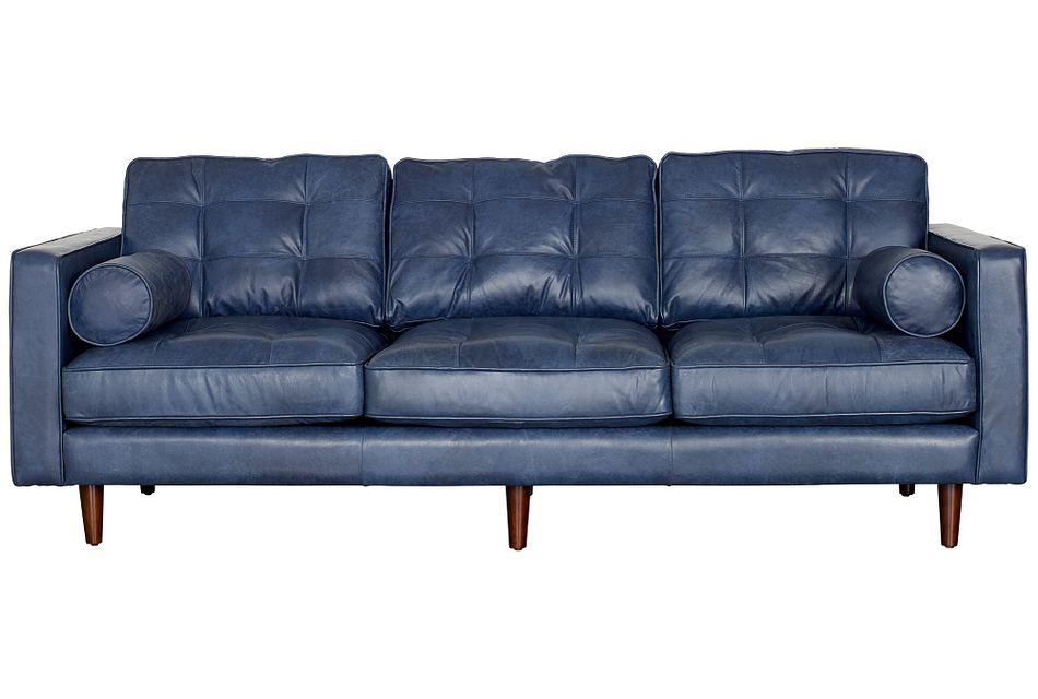 Encino Dark Blue Leather Sofa Living, Blue Leather Furniture