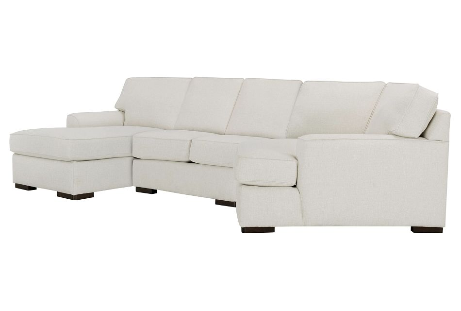 Austin White Fabric Left Facing Chaise Cuddler Sectional