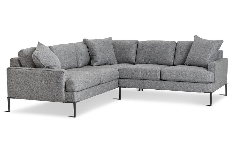 Morgan Dark Gray Fabric Small Left 2-arm Sectional W/ Metal Legs