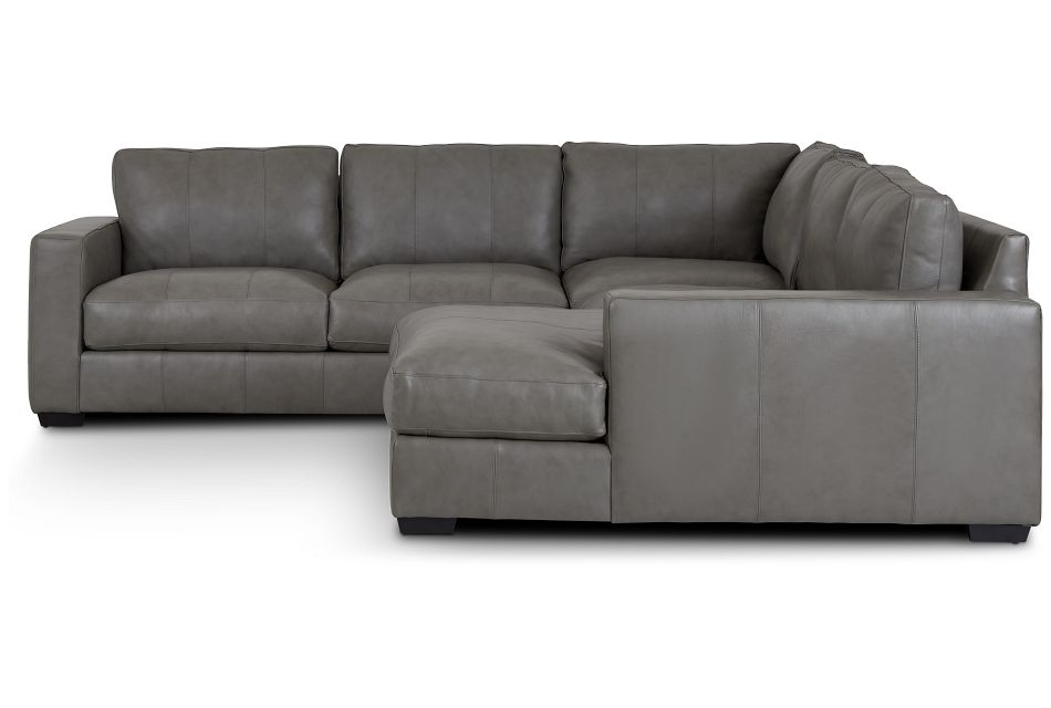 Dawkins Gray Leather Medium Right Chaise Sectional,  (2)