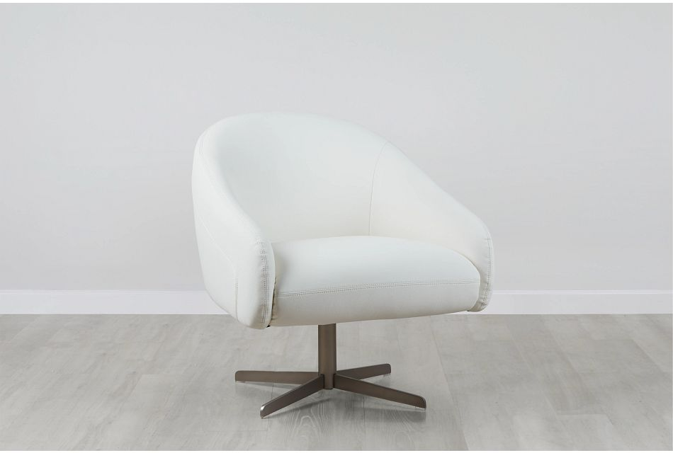 Frankie White Swivel Accent Chair