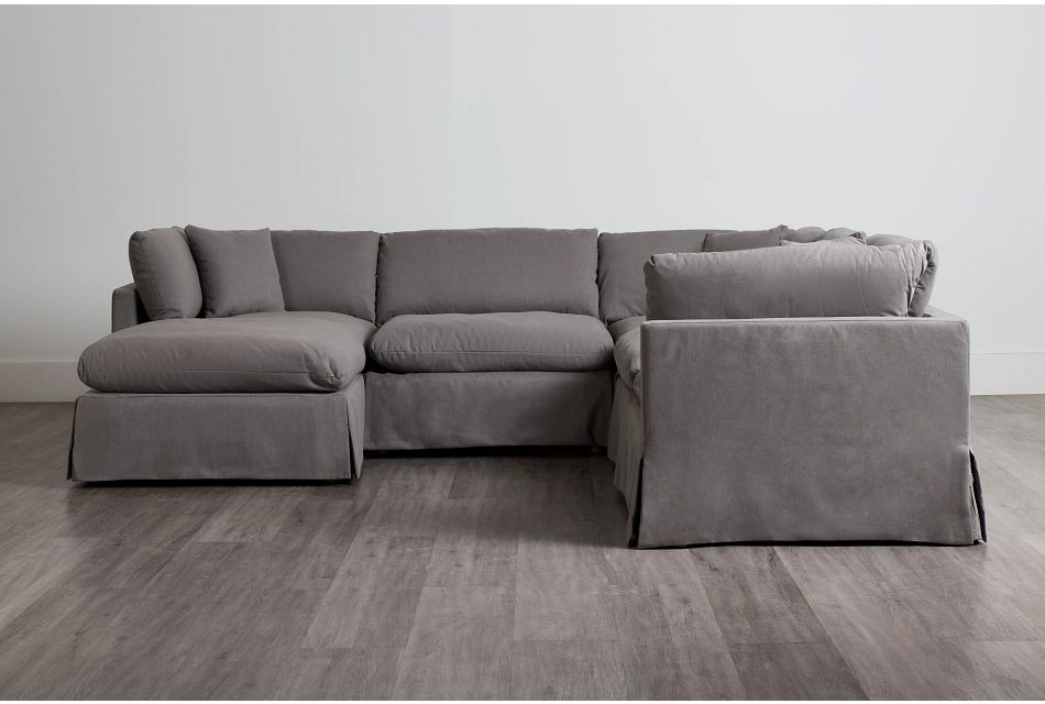 Raegan Gray Fabric Small Left Chaise Sectional,  (0)