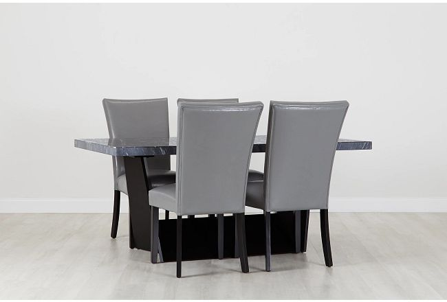 Auburn Dark Gray Rect Table & 4 Gray Upholstered Chairs