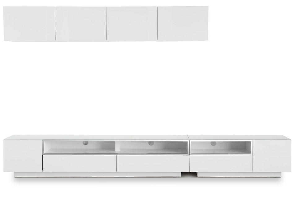 "Vancouver 134"" White 6-piece Left Modular Entertainment Wall"