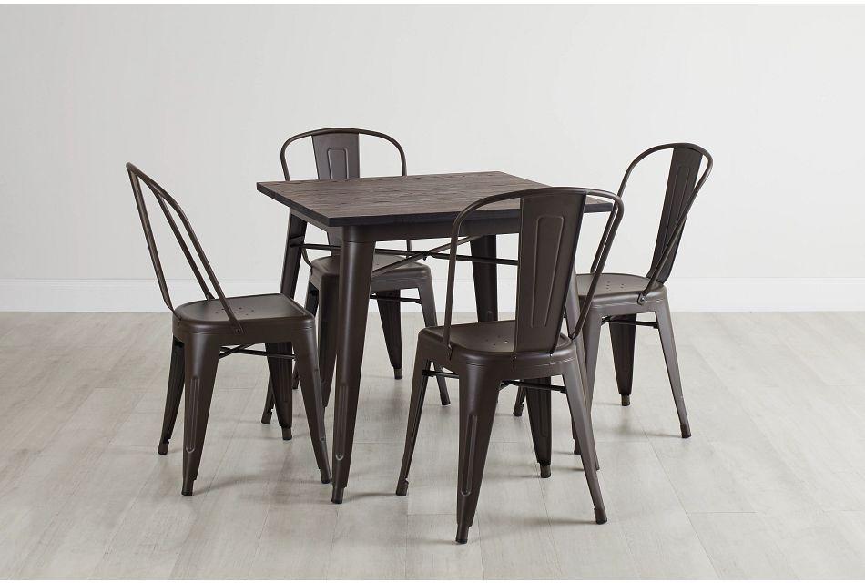 Harlow Dark Tone Square Table & 4 Metal Chairs,  (0)