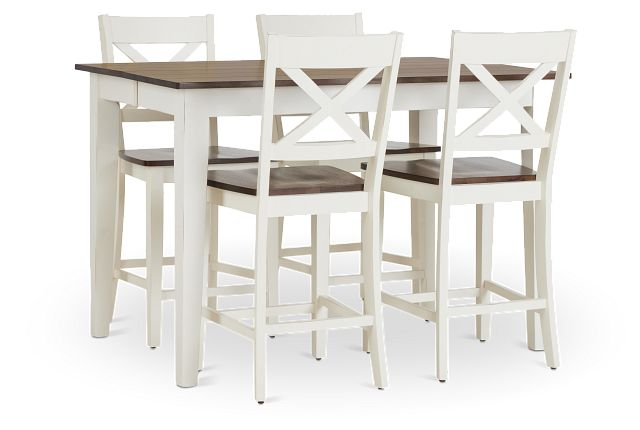 Sumter White High Table & 4 Barstools