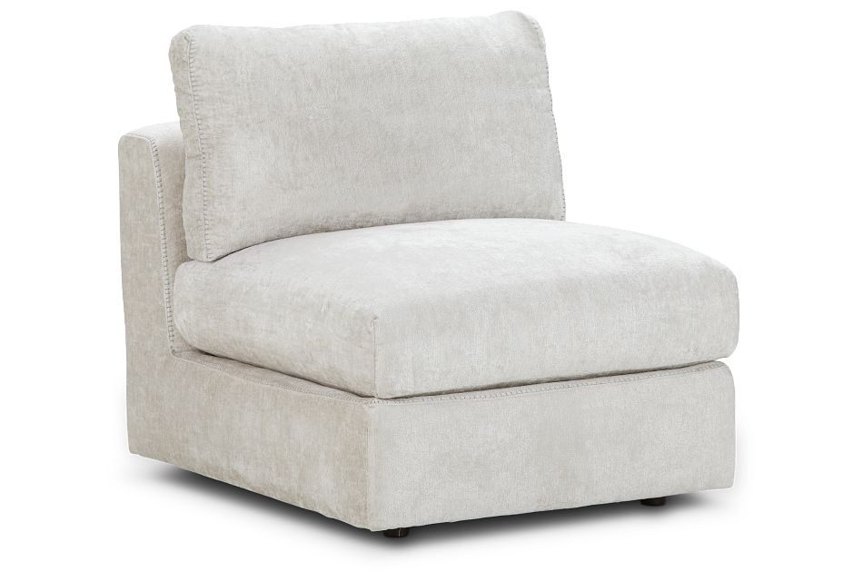 Oasis Light Beige Fabric Armless Chair, %%bed_Size%% (1)