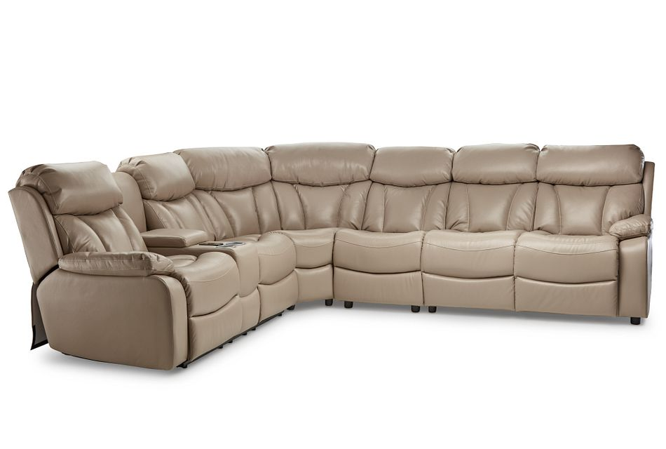 Dustin Beige Micro Medium Power Sectional W/ Right Sleeper