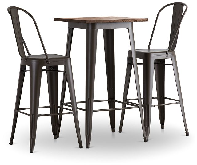 Harlow Dark Tone Pub Table & 2 Metal Barstools (1)