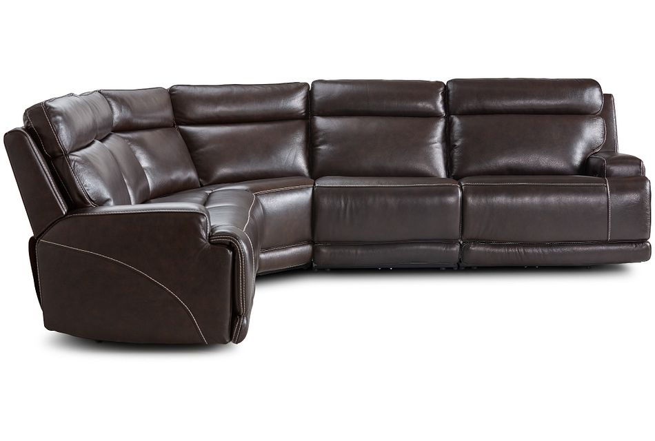 Valor Dark Brown Leather Small Two-arm Power Reclining Sectional