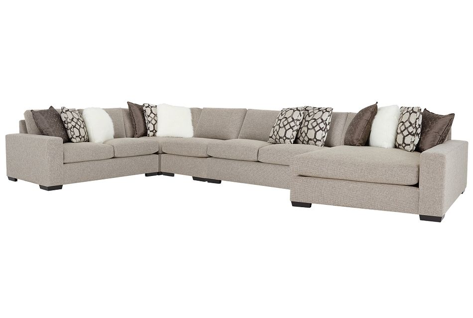 Orlando Brown Fabric Large Right Chaise Sectional