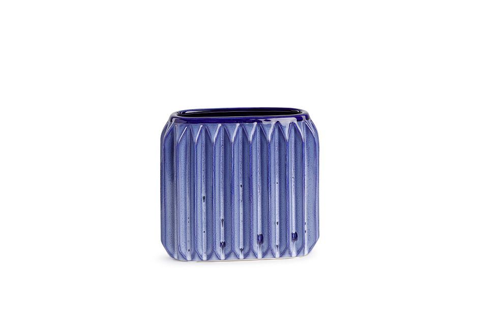 Ridgy Blue Small Vase