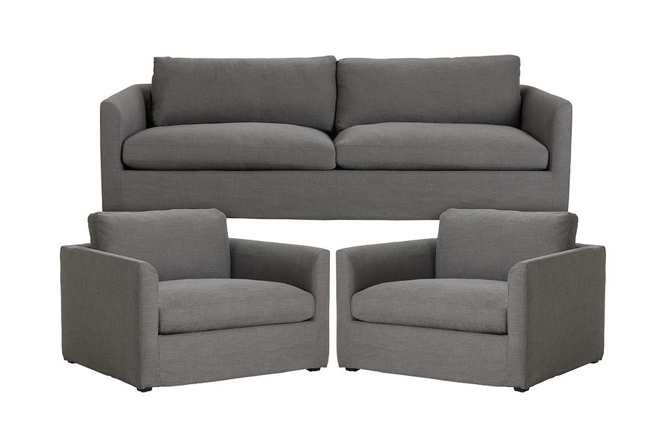 Willow Gray Fabric Large Living Room