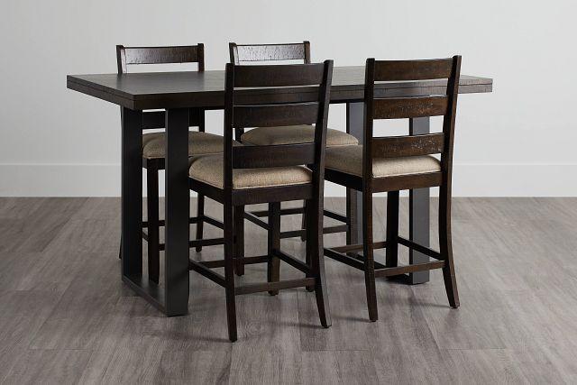 Sawyer Dark Tone High Table & 4 Wood Barstools (0)