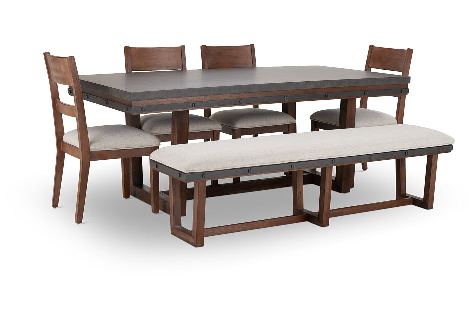 Forge Dark Tone Rect Table, 4 Chairs & Bench,  (3)