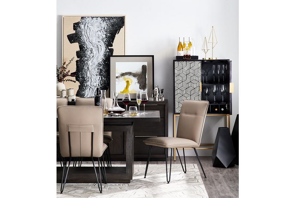 Madden Taupe Table & 4 Upholstered Chairs