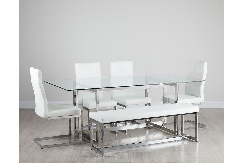Bronx Glass White Table, 4 Chairs & Bench