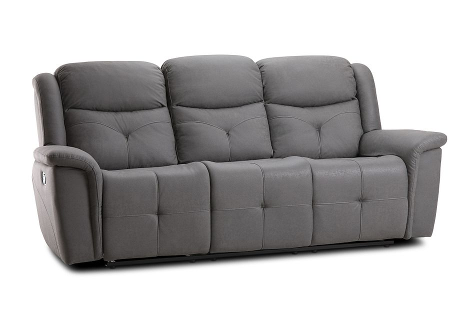Calvin Light Gray Micro Reclining Sofa