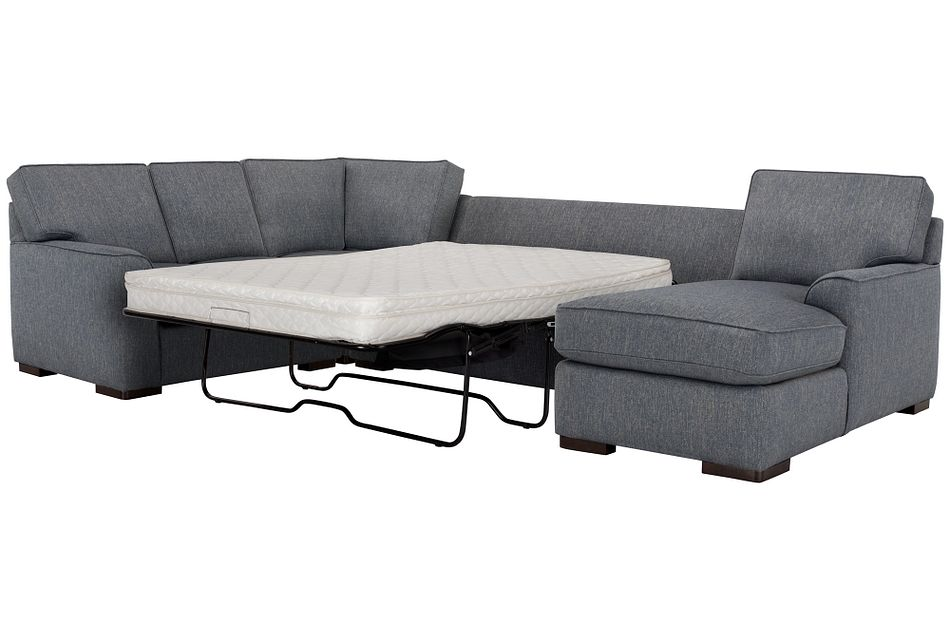 Austin Blue Fabric Right Chaise Innerspring Sleeper Sectional