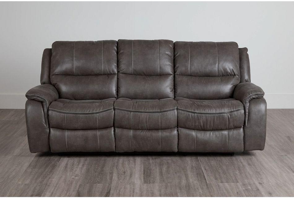 Dober Dark Gray Micro Power Reclining Sofa,  (0)