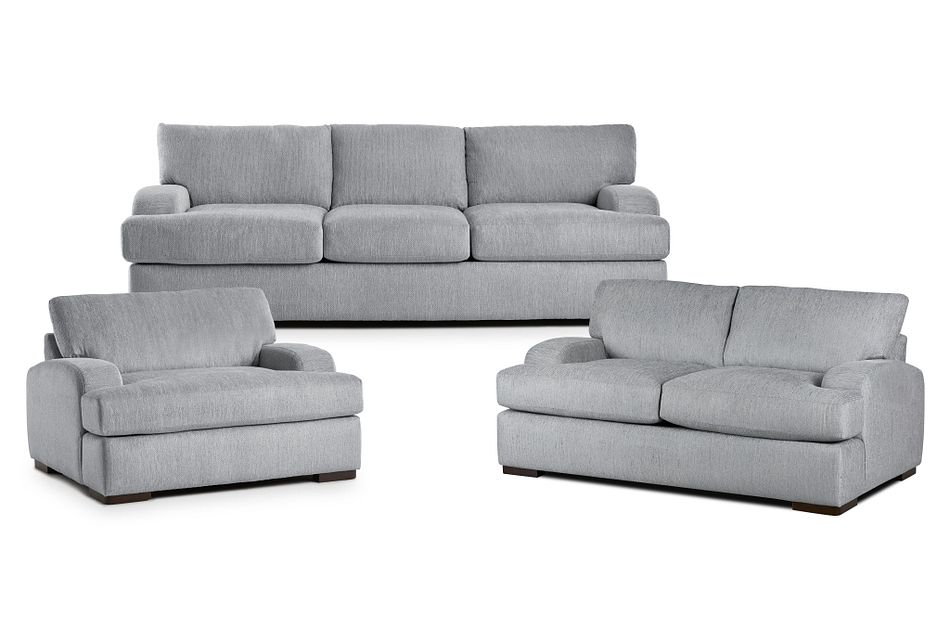 Alpha Light Gray Fabric Living Room