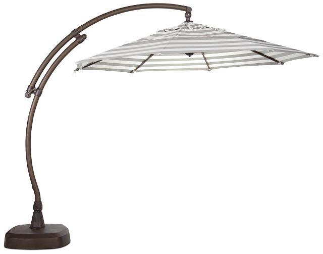 Cayman Gray Stripe Cantilever Umbrella Set (3)