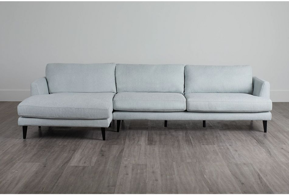 Fremont Light Blue Fabric Left Chaise Sectional