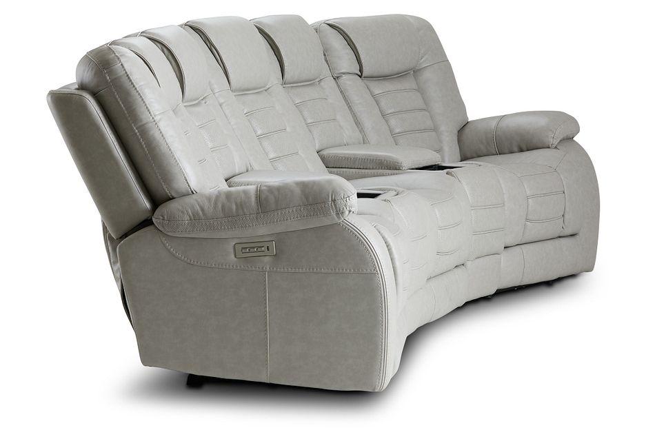 Bradley Gray Lthr/vinyl Dual Power Reclining Home Theater Seating