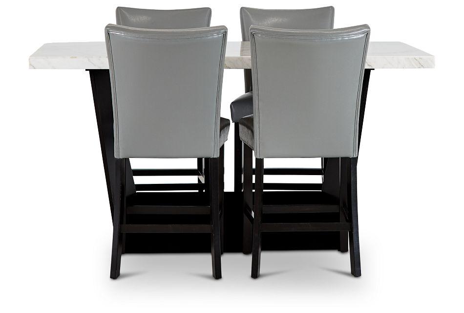 Auburn White High Table & 4 Gray Upholstered Barstools, %%bed_Size%% (2)