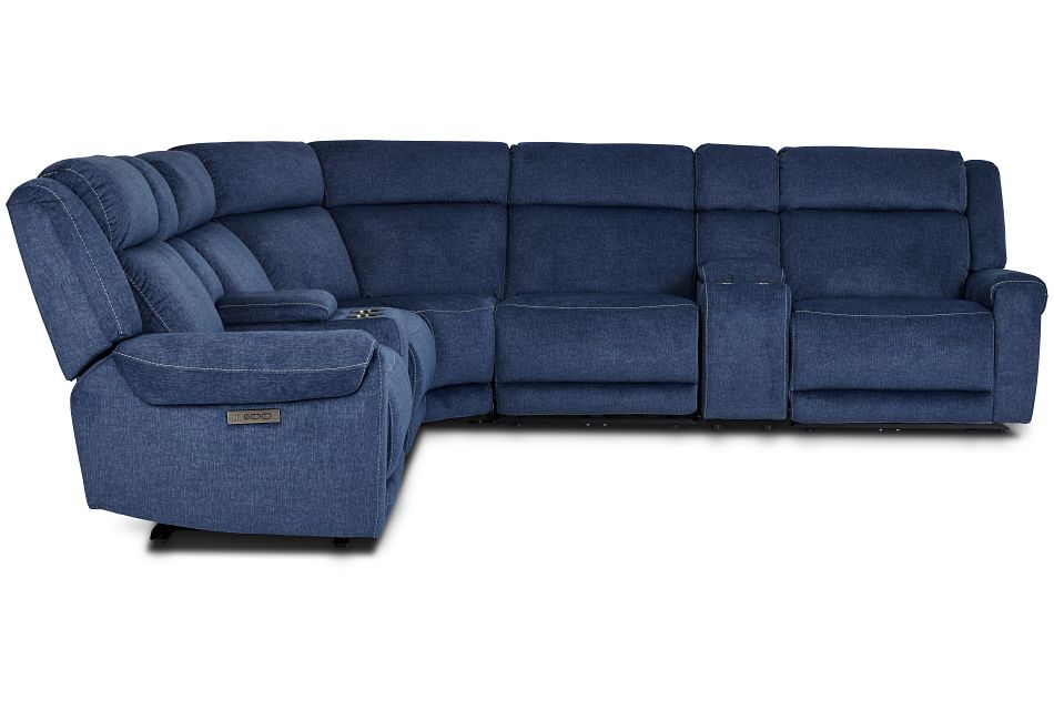 Beckett Dark Blue Micro Large Dual Power Reclining Two-Arm Sectional,  (2)