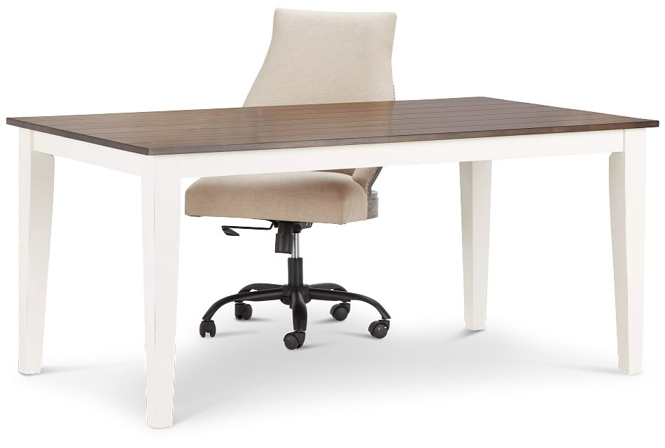 Sumter White Desk And Chair,  (3)