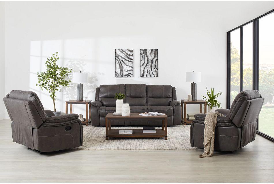 Dober Dark Gray Micro Power Reclining Sofa