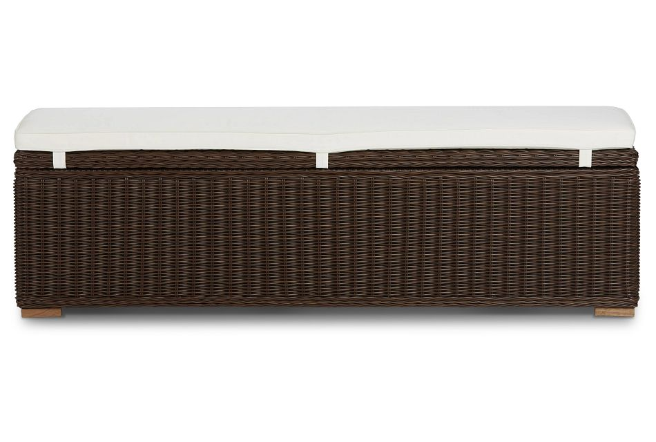 Canyon Dark Brown White Woven Dining Bench