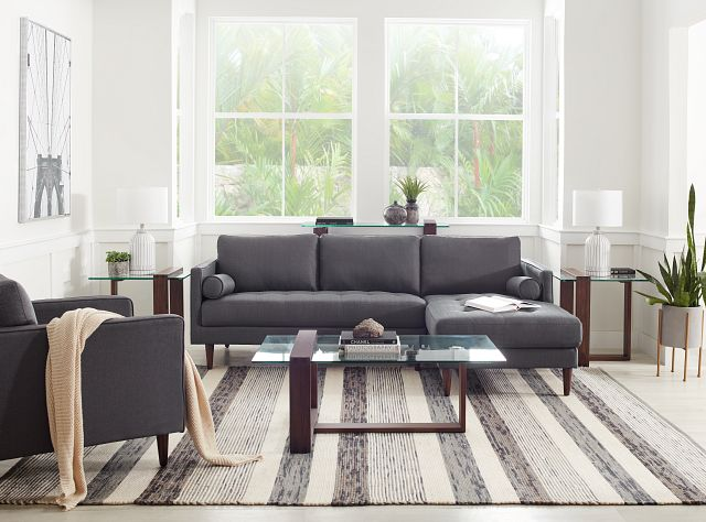 Rue Gray Fabric Right Chaise Sectional (1)