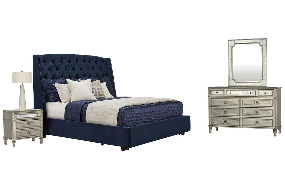 Raven Dark Blue Uph Platform Storage Bedroom