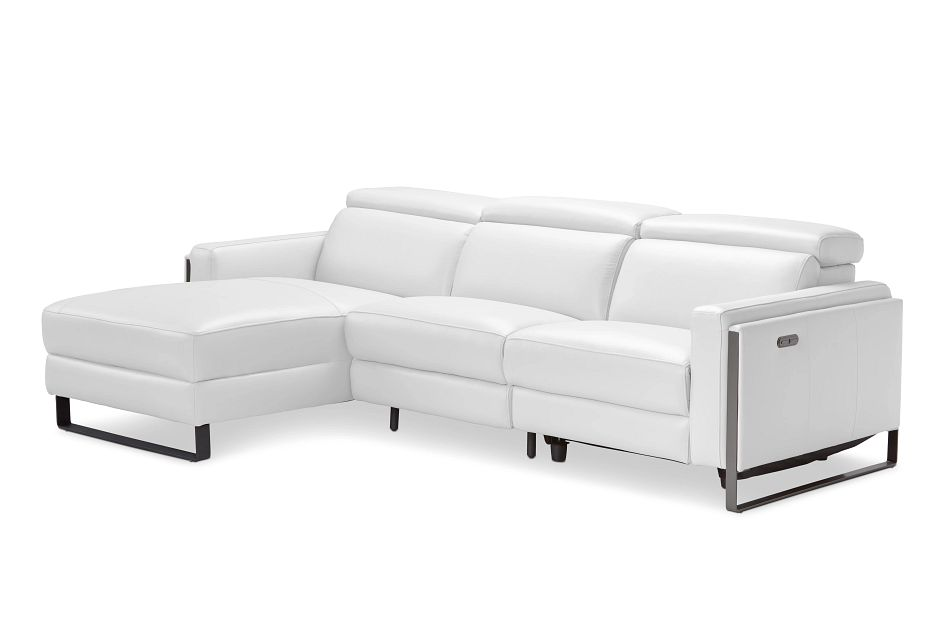 Atlas White Lthr/vinyl Left Chaise Power Reclining Sectional