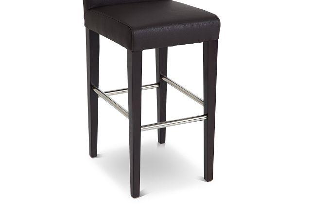 "Cane Dark Brown Micro 30"" Upholstered Barstool"