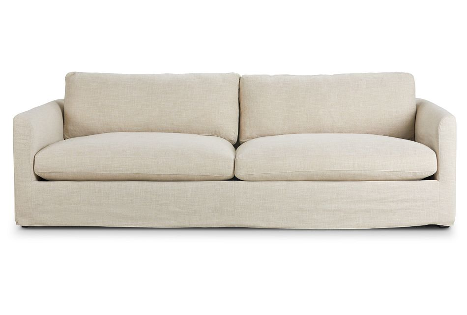 "Willow 102"" Light Beige Fabric Sofa"