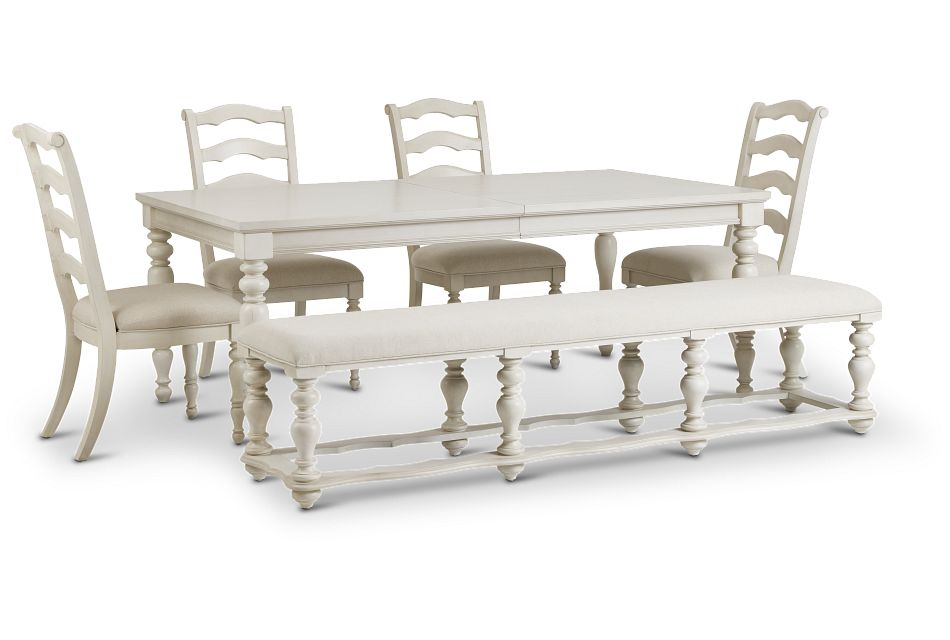 Savannah Ivory Rect Table, 4 Chairs & Bench,  (1)