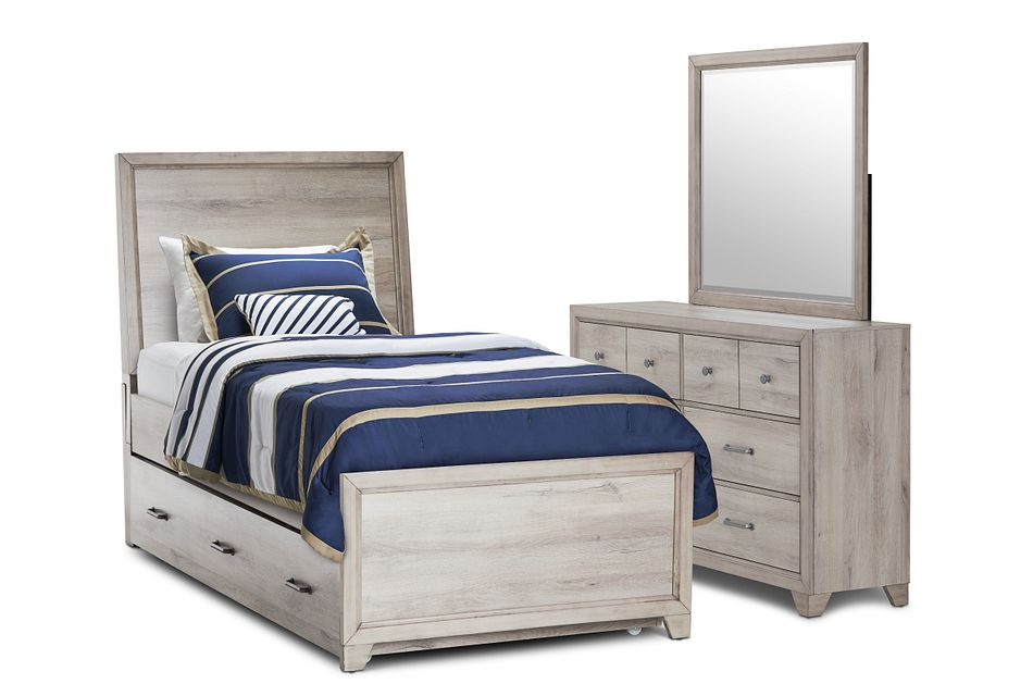 Rivercreek Gray Wood Panel Trundle Bedroom