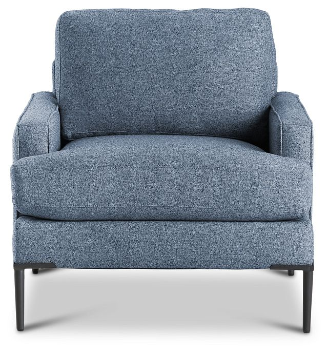 Morgan Blue Fabric Chair With Metal Legs (3)