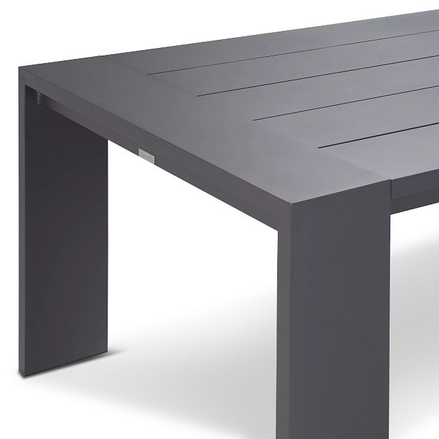 """Linear Dark Gray White 87"""" Aluminum Table & 4 Teak Cushioned Side Chairs (3)"""