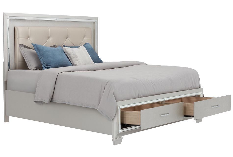 Platinum Silver Uph Panel Storage Bed